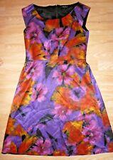 NOUGAT silk cotton russet plum gold purple back full skirt party dress 3 14 12 M