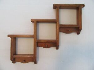 Wood Wall Shadow Box Shelf Curio Country Pine Figurine Step Peg Display Rack A