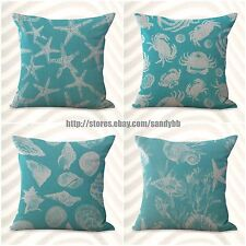 Us Seller-4pcs cushion covers seaplant beach shells decorative pillow covers