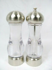 Trudeau Glass Salt and Pepper Grinders Set Silver