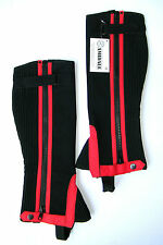 AMIDALE HALF CHAPS HORSE RIDING EQUESTRIAN BLACK AMARA MACHINE WASHABLE RED LINE