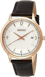 Seiko SGEH88P1 Rose Gold Tone Stainless Steel Date Leather Strap Watch RRP £180