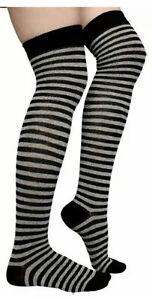 Ladies Black/Grey Over the Knee Socks Women's Party Wear Checked OTK Socks