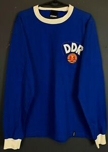 MEN RETRO REPLICA DDR EAST GERMANY 1981/1982 SOCCER FOOTBALL SHIRT JERSEY SIZE L