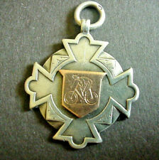 More details for victorian cycling solid silver gold medal fob 1890 hallmarked