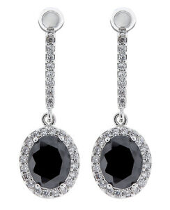Black Clip On Earrings silver drop with clear crystals and oval stone - Meryl B