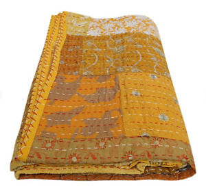 Assorted Ethnic Reversible Patchwork Cotton Kantha Quilt Indian Handmade Floral