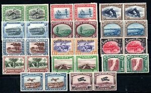 SOUTH WEST AFRICA , 1931 , very scarce long set up to 20 SHILLINGS , PAIRS !! MH