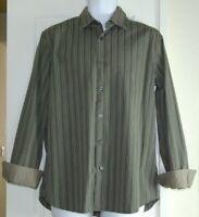 BANANA REPUBLIC MENS 16 16.5 L STRIPED CONTRAST CUFF SLIM FIT CASUAL DRESS SHIRT
