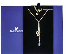 New Authentic SWAROVSKI Gold Tropical Leaf  Motif Y Pendant Necklace 5519249