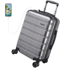 REYLEO USB Charging Luggage 20in PC+ABS Carry on Luggage Travel Suitcase, Gray