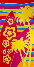 BEACH TOWEL PALM TREES FLORAL YELLOW RED BLUE LIME GREEN CERISE FUN AND FUNKY