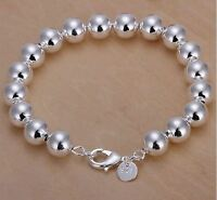 925 Sterling Silver Layered CLASSIC HOLLOW BALL BEAD BRACELET10MM ROUND BEADS
