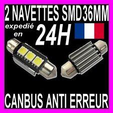 2 AMPOULE NAVETTE A 3 LED SMD C5W 36MM ANTI SANS ERREUR CANBUS PLAFONNIER PLAQUE
