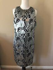 MAGGY LONDON Black Silver Metallic Embellished Brocade Sheath Dress Sz 10 EUC