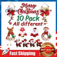 10Pcs Christmas Ornaments Sets Xmas Tree Decoration Hanging Ornaments Bells