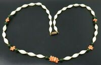 """Vintage Natural Jade Mother of Pearl Pink coral Beaded  Necklace 22"""""""