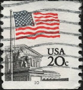 US - 1981 - 20 Cents US Flag Over Supreme Court Coil Issue #1895 Plate 10 Single
