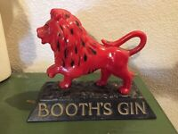 Vtg 60's BOOTH'S HIGH AND DRY GIN RED LION BAR DISPLAY ADVERTISING SIGN BY ALAN