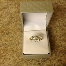 "Baguette & Brilliant Cut  1ct Diamond & 18ct Gold ""Boat"" Cluster Ring used"
