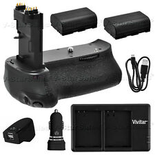 Battery Grip for Canon EOS 70D BG-E14 + 2x LPE6 Batteries + Dual Charger +Remote