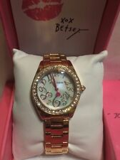 Betsey Johnson Rose Gold Tone Crystal Mother of Pearl 31mm Watch NEW  BJ00221-03