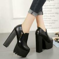 Women's PU Leather Chunky 15cm High Heels Casual Shoes Platform Round Toe 00