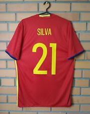 Spain Home football shirt 2015-2016 #21 SILVA Size M jersey soccer Adidas