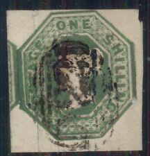 Great Britain #5 1sh pale green, used, tiny tear in upper left margin Scott $850