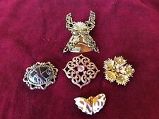 VINTAGE BROOCH LOT OF FIVE---COSTUME JEWELRY