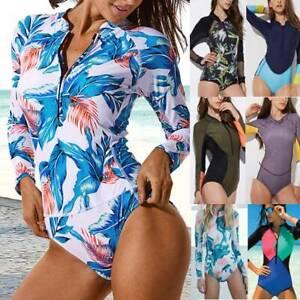 Women Long Sleeve One Piece Rash Guard Swimsuit Surfing Top Swimwear Bathing A32