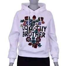 DSQUARED2 DSQUARED LOVE Sweatshirt Hoody Sweater mit Blumen Stickerei Weiß 07237