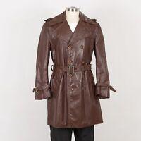 Mens Vintage Leather Coat Size M Medium Brown