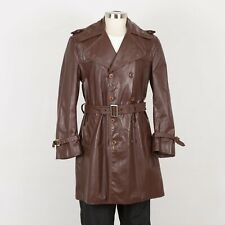 Mens Vintage Leather Coat Size M Medium Brown
