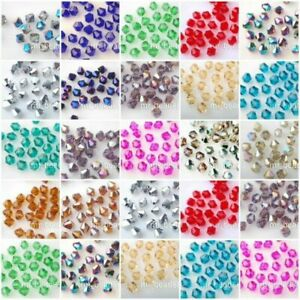 Pretty 100-500Pcs Glass Crystal Faceted Bicone Beads 4mm Loose Spacer