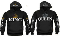 King and Queen Couple Matching HOODIE Sweatshirt Silver Golden Crowns S-5XL Fast