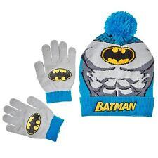 NWT DC Comics Batman Superhero Boys Beanie Winter Ski Hat/Cap Mittens Glove Set