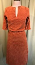 Vintage 70's Linda Lori Rust Orange Velour 3/4 Sleeve Dress Bust 34""