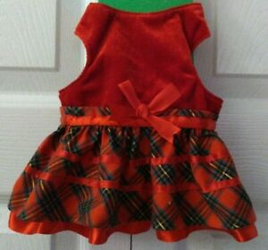 Small Pet Cat Kitty Dress Costume Red Plaid Velour One Size