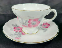 Vintage Crown Bone China Made in England Tea Cup & Saucer Pink Poppie Gold Rim😊