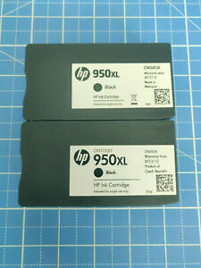 Lot of Two (2) Genuine HP 950XL Black Cartridges - Dated 2013 / 2017 - No Box