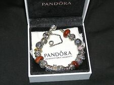 PANDORA STERLING SILVER BRACELET .925 ALE FILLED WITH 20 AUTHENTIC CHARMS 7.9