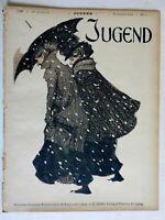 Women in Snowstorm Umbrellas Jugend 1900 Issue 5 Jugenstil Art Nouveau graphics