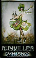 Dunvilles Whisky Pancarte en Tôle Signe Métal 3D Relief Voûté Étain 20 X 30 CM