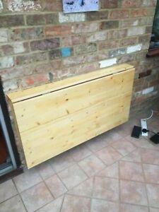 Wall mounted fold away pine desk/ work table, custom made size approx 120cmx70cm