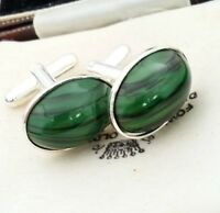 Vintage - CZECH 1950s Green & Black Striped Glass - Oval Silver Plated Cufflinks
