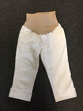 Old Navy Maternity White Denim Jean Cuffed Capris - Size 8