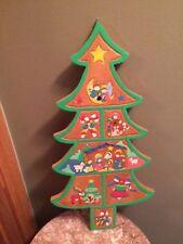 Vintage wooden Christmas tree wall hanging art manger scene star bell angel bear