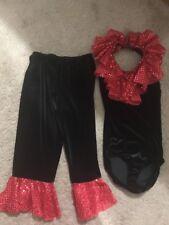Dance Costume -Black Velvet/Red Sequin Child Medium Costume Disco