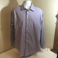 Nautica Mens Long Sleeve Dress Shirt17.5 36/37 Comfort Stretch Lavender Plaid FS